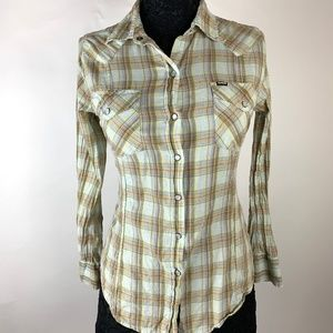 Hurley Women's Fitted Plaid Western Shirt S